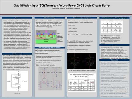 TEMPLATE DESIGN © 2007 www.PosterPresentations.com Gate-Diffusion Input (GDI) Technique for Low Power CMOS Logic Circuits Design Yerkebulan Saparov, Aktanberdi.