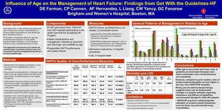 Influence of Age on the Management of Heart Failure: Findings from Get With the Guidelines-HF DE Forman, CP Cannon, AF Hernandez, L Liang, CW Yancy, GC.