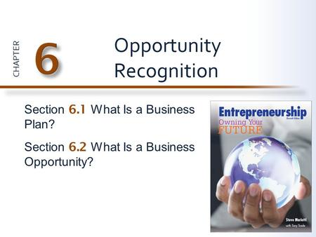 CHAPTER Section 6.1 What Is a Business Plan? Section 6.2 What Is a Business Opportunity? Opportunity Recognition.