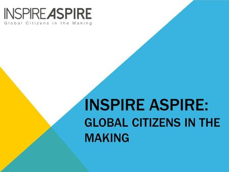INSPIRE ASPIRE: GLOBAL CITIZENS IN THE MAKING. EXAMPLE OF A COMPLETED POSTER.