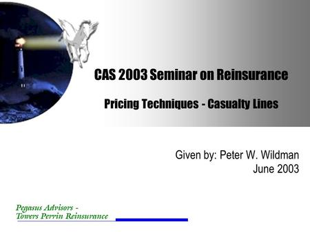 Pegasus Advisors - Towers Perrin Reinsurance CAS 2003 Seminar on Reinsurance Pricing Techniques - Casualty Lines Given by: Peter W. Wildman June 2003.