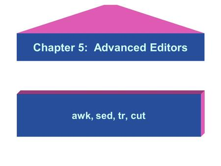 Chapter 5: Advanced Editors awk, sed, tr, cut. Objectives: After studying this lesson, you should be able to: –awk: a pattern scanning and processing.