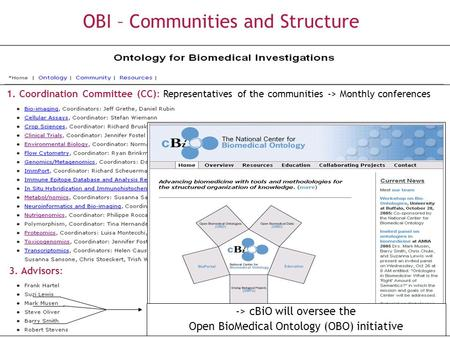 OBI – Communities and Structure 1. Coordination Committee (CC): Representatives of the communities -> Monthly conferences 2. Developers WG: CC and other.