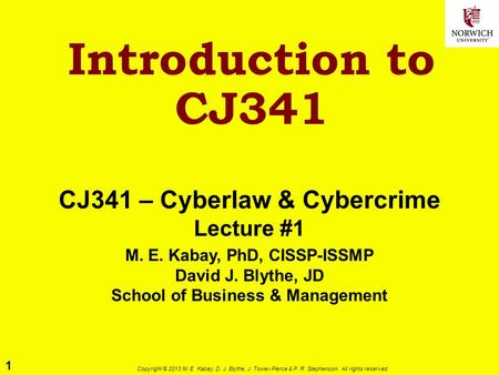 1 Copyright © 2013 M. E. Kabay, D. J. Blythe, J. Tower-Pierce & P. R. Stephenson. All rights reserved. Introduction to CJ341 CJ341 – Cyberlaw & Cybercrime.