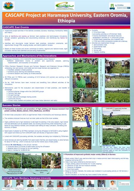  Implements project activities in five districts (woredas) (Gurawa, Haramaya, Kombolcha, Metta and Habro).  Aims at identifying and scaling up farmers'
