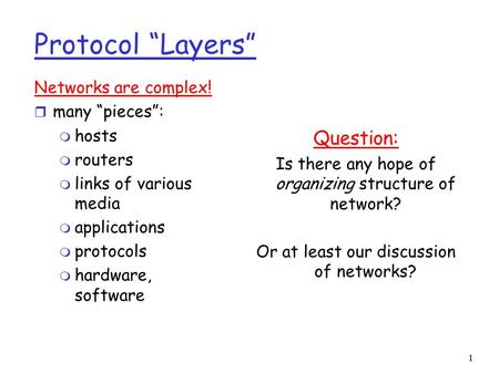 "1 Protocol ""Layers"" Networks are complex! r many ""pieces"": m hosts m routers m links of various media m applications m protocols m hardware, software Question:"