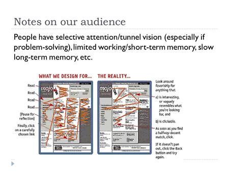 Notes on our audience People have selective attention/tunnel vision (especially if problem-solving), limited working/short-term memory, slow long-term.