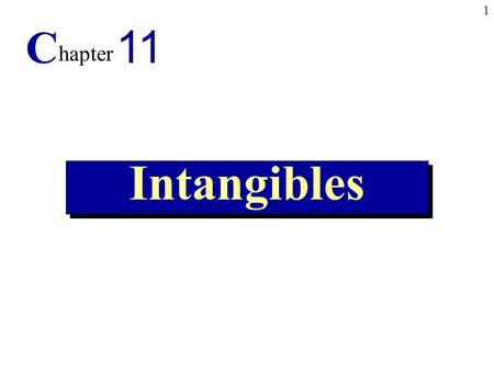 1 Intangibles C hapter 11. 2 1.Explain the accounting alternatives for intangible assets. 2. Record the amortization of intangibles. 3.Identify research.
