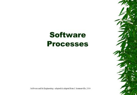 Software Processes Software and Its Engineering - adopted & adapted from I. Sommerville, 2004.