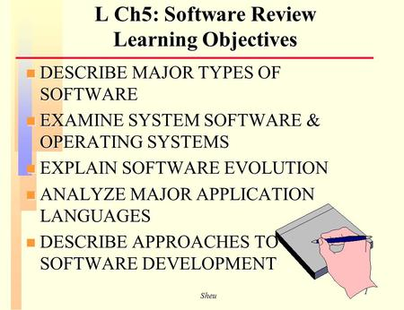 Sheu 1 L Ch5: Software Review Learning Objectives n DESCRIBE MAJOR TYPES OF SOFTWARE n EXAMINE SYSTEM SOFTWARE & OPERATING SYSTEMS n EXPLAIN SOFTWARE.