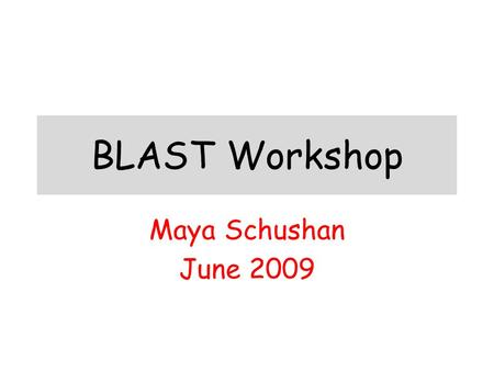 BLAST Workshop Maya Schushan June 2009.