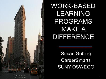 WORK-BASED LEARNING PROGRAMS MAKE A DIFFERENCE Susan Gubing CareerSmarts SUNY OSWEGO 1.