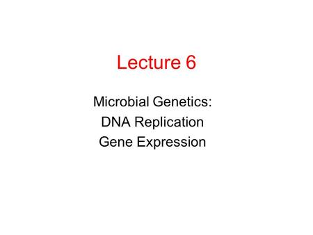 Lecture 6 Microbial Genetics: DNA Replication Gene Expression.