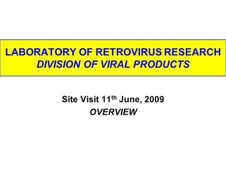 LABORATORY OF RETROVIRUS RESEARCH DIVISION OF VIRAL PRODUCTS Site Visit 11 th June, 2009 OVERVIEW.