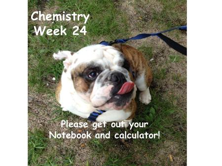 Chemistry Week 24 Please get out your Notebook and calculator!