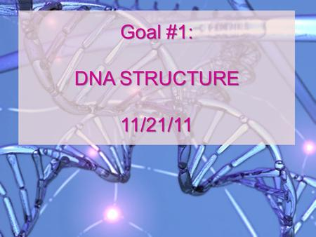 Goal #1: DNA STRUCTURE 11/21/11 I. Genes Sections of DNA that hold instructions to make you!