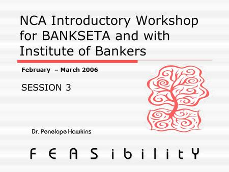 NCA Introductory Workshop for BANKSETA and with Institute of Bankers Dr. Penelope Hawkins Dr. Penelope Hawkins F E A S i b i l i t Y February – March 2006.