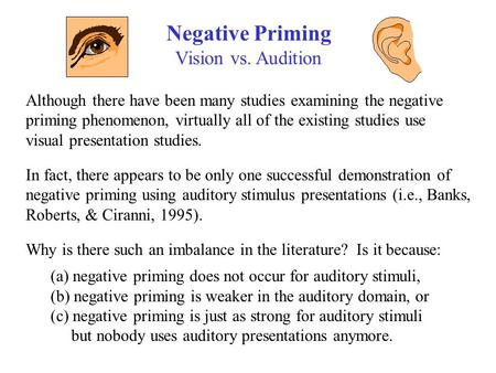 Negative Priming Vision vs. Audition Although there have been many studies examining the negative priming phenomenon, virtually all of the existing studies.