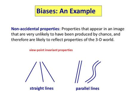Biases: An Example Non-accidental properties: Properties that appear in an image that are very unlikely to have been produced by chance, and therefore.