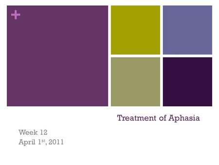+ Treatment of Aphasia Week 12 April 1 st, 2011. + Review Involvement of semantic and phonological stages in naming. Differentiating features of naming.