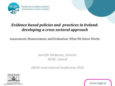 Www.ncge.ie Evidence based policies and practices in Ireland: developing a cross sectoral approach Assessment, Measurement, and Evaluation: What We Know.