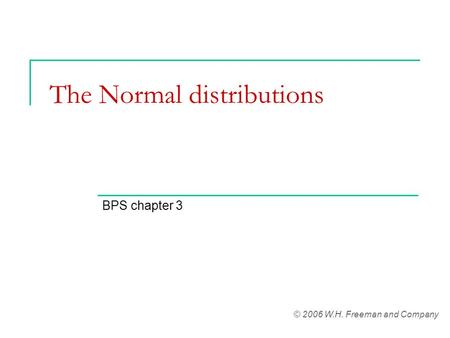 The Normal distributions BPS chapter 3 © 2006 W.H. Freeman and Company.