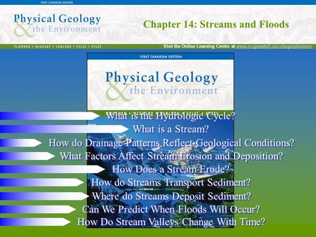 Chapter 14: Streams and Floods Visit the Online Learning Centre at www.mcgrawhill.ca/college/plummerwww.mcgrawhill.ca/college/plummer Chapter 14: Streams.