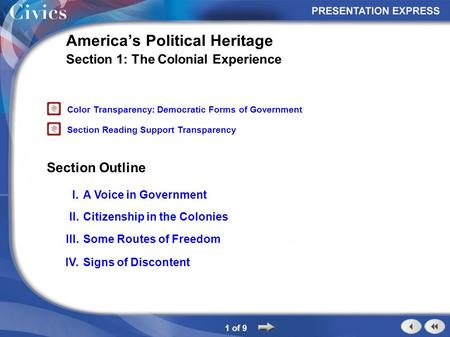 Section Outline 1 of 9 America's Political Heritage Section 1: The Colonial Experience I.A Voice in Government II.Citizenship in the Colonies III.Some.