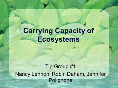 Carrying Capacity of Ecosystems