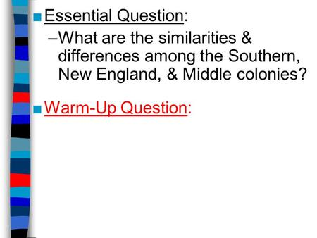 new england southern colonies