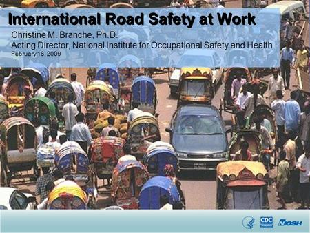 Christine M. Branche, Ph.D. Acting Director, National Institute for Occupational Safety and Health February 16, 2009 International Road Safety at Work.