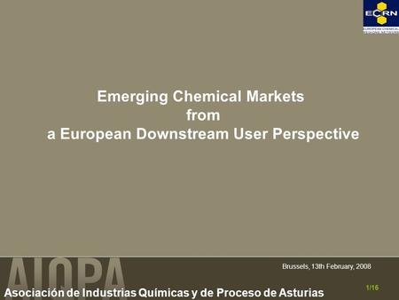 Asociación de Industrias Químicas y de Proceso de Asturias Brussels, 13th February, 2008 1/16 Emerging Chemical Markets from a European Downstream User.