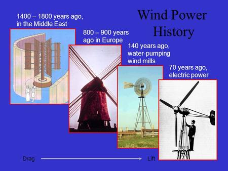 Wind Power History 800 – 900 years ago in Europe 140 years ago, water-pumping wind mills 70 years ago, electric power 1400 – 1800 years ago, in the Middle.