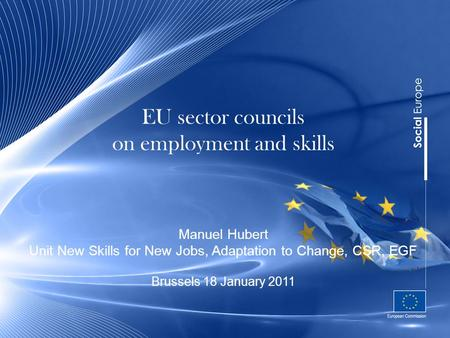 EU sector councils on employment and skills Manuel Hubert Unit New Skills for New Jobs, Adaptation to Change, CSR, EGF Brussels 18 January 2011.