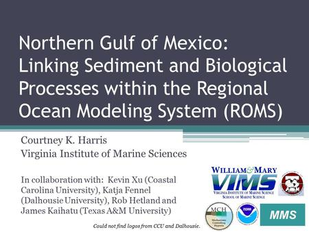 Northern Gulf of Mexico: Linking Sediment and Biological Processes within the Regional Ocean Modeling System (ROMS) Courtney K. Harris Virginia Institute.