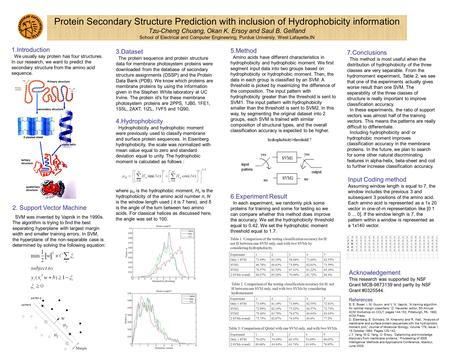 Protein Secondary Structure Prediction with inclusion of Hydrophobicity information Tzu-Cheng Chuang, Okan K. Ersoy and Saul B. Gelfand School of Electrical.