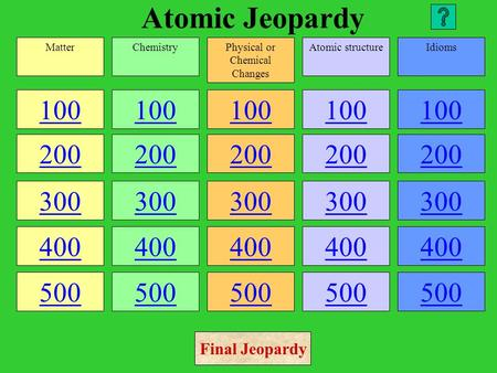 Atomic Jeopardy 100 200 300 400 500 100 200 300 400 500 100 200 300 400 500 100 200 300 400 500 100 200 300 400 500 MatterChemistryPhysical or Chemical.