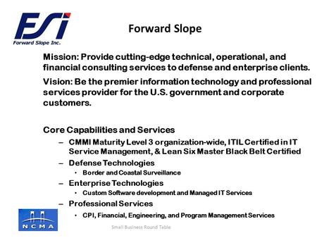 Company logo here Mission: Provide cutting-edge technical, operational, and financial consulting services to defense and enterprise clients. Vision: Be.