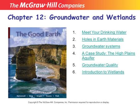 Chapter 12: Groundwater and Wetlands Copyright © The McGraw-Hill Companies, Inc. Permission required for reproduction or display. 1. 2. 3. 4. Meet Your.