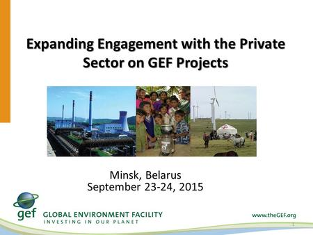 Expanding Engagement with the Private Sector on GEF Projects 1 Minsk, Belarus September 23-24, 2015.
