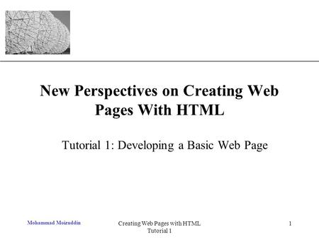XP Mohammad Moizuddin Creating Web Pages with HTML Tutorial 1 1 New Perspectives on Creating Web Pages With HTML Tutorial 1: Developing a Basic Web Page.