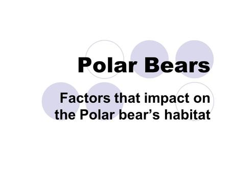 Polar Bears Factors that impact on the Polar bear's habitat.