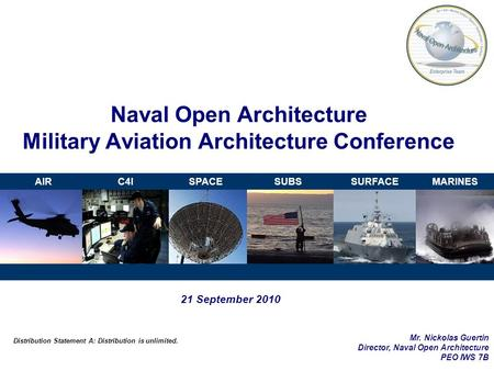 AIRC4ISPACESUBSSURFACEMARINES Naval Open Architecture Military Aviation Architecture Conference 21 September 2010 Distribution Statement A: Distribution.
