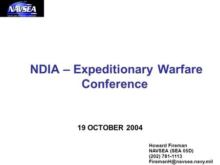 NDIA – Expeditionary Warfare Conference