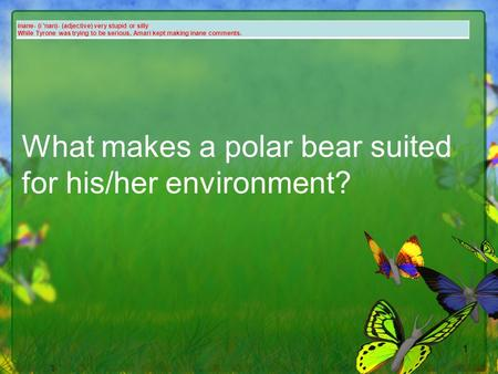 1 What makes a polar bear suited for his/her environment? inane- (i 'nan)- (adjective) very stupid or silly While Tyrone was trying to be serious, Amari.