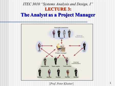 LECTURE 3: The Analyst as a Project Manager