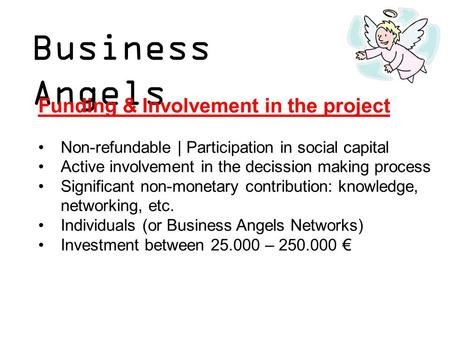 Business Angels Funding & Involvement in the project Non-refundable | Participation in social capital Active involvement in the decission making process.