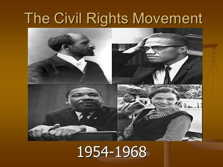 civil rights movement 1954 Historically, the civil rights movement was a time during the 1950's and 60's to eliminate segregation and gain equal rights looking back on all the events, and dynamic figures it produced.
