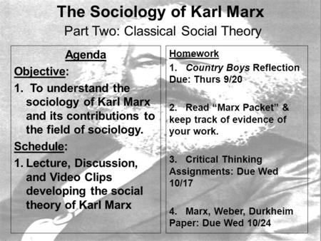 The Sociology of Karl Marx Part Two: Classical Social Theory Agenda Objective: 1. To understand the sociology of Karl Marx and its contributions to the.