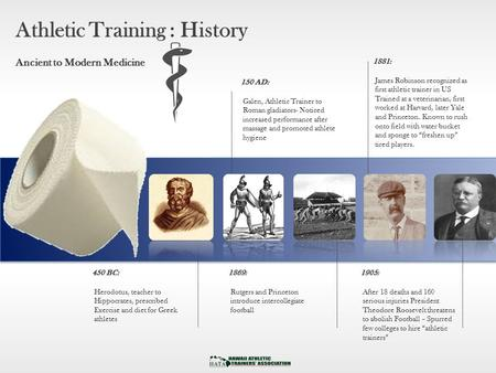 Athletic Training : History Ancient to Modern Medicine 150 AD: Galen, Athletic Trainer to Roman gladiators- Noticed increased performance after massage.